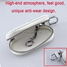 White Zipper Genuine PU Leather Car Key Bag Case Holder Cover fit Audi BMW BENZ