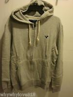Men American Eagle Ae Solid Fleece Hoodie Grey M