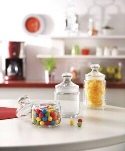 6 Luminarc Glass Pot Club Storage Jar with Push Lid Candy Box