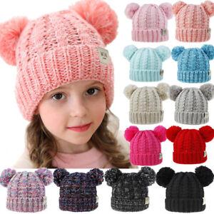 Kid Child Baby Boys Girls Beanie Hat Cap Winter Warm Double Pom Pom Bobble Knit