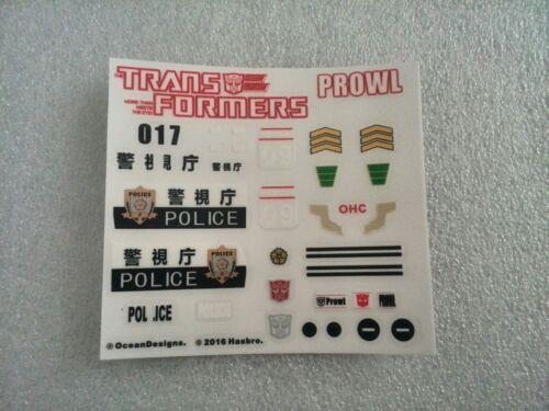 Ocean X Hasbro Decal Sticker For Robot MP17 Prowl Figure