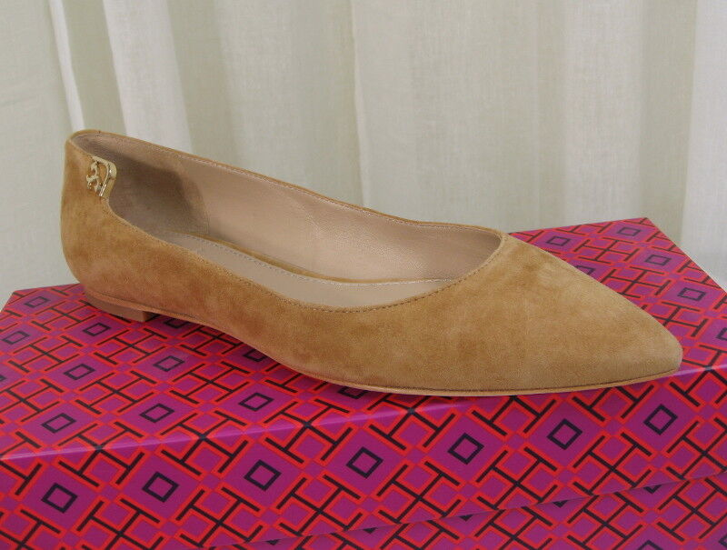 NIB Tory Burch Elizabeth Pointy-Toe Flat Suede Size 6.5 Stirrup Brown gold Logo