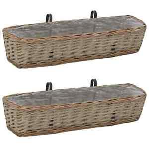 vidaXL 2x Balcony Planter Wicker with PE Lining Pot Bed Willow Plant Basket