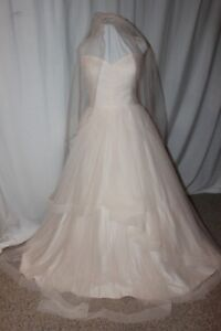 NWT-Justin-Alexander-SWEETHEART-6158-blush-pink-tulle-Size-18-bridal-gown-amp-veil