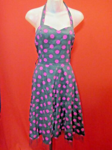 HEARTS & ROSES LONDON Black Pink Polka Dot Rockabi