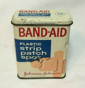 Vintage-Advertising-Medical-Tin-Can-JOHNSON-amp-JOHNSON-BAND-AID-Plastic-Strip