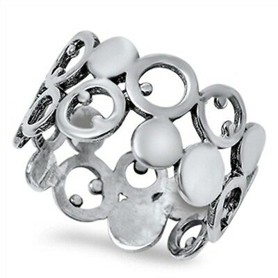 .925 Sterling Silver Abstract Dotted Band Fashion Ring Size 5 6 7 8 9 10 NEW
