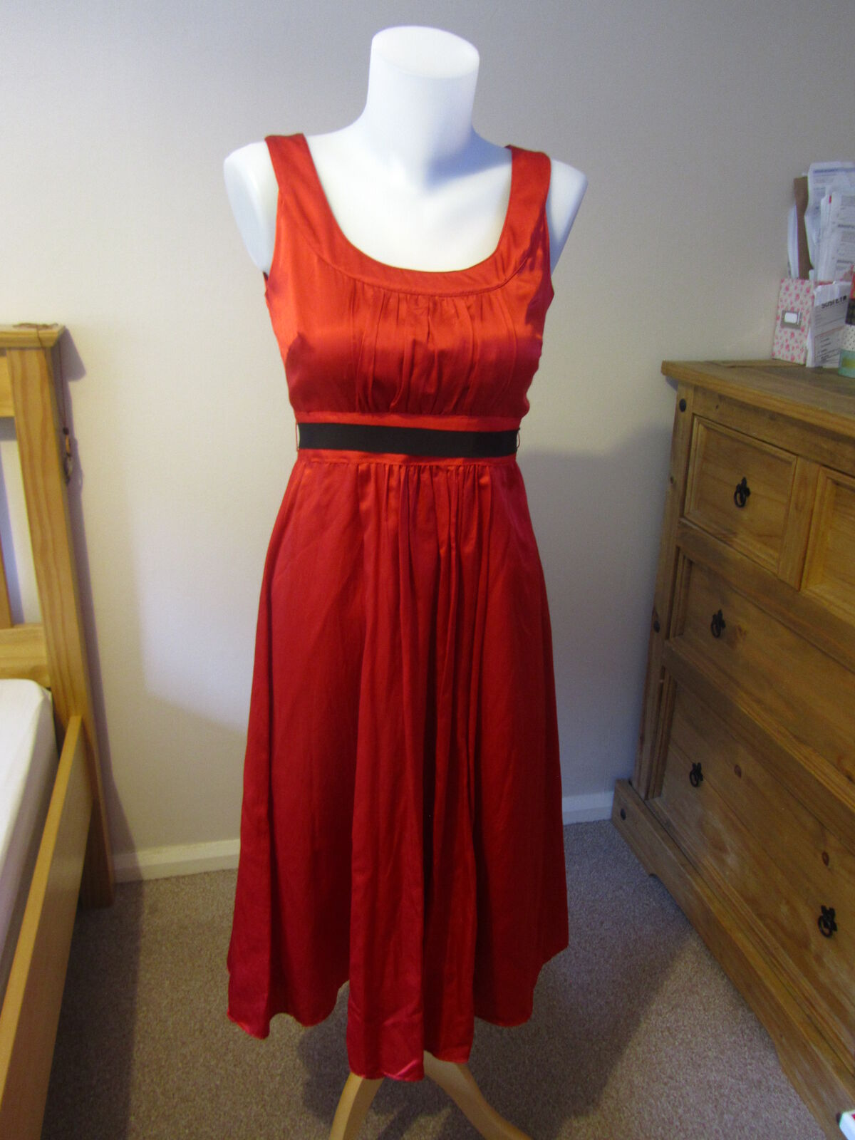 Monsoon silk style red dress - size 10 - party wedding retro 50's style