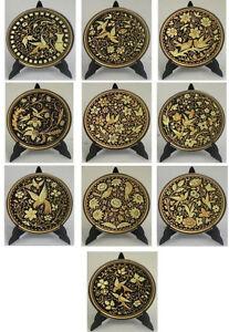 Damascene-Gold-Bird-amp-Flower-Round-Decorative-Mini-Plate-by-Midas-Toledo-Spain