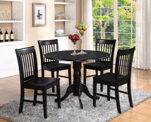 ROUND DINETTE KITCHEN DINING TABLE with 2 WOOD SEAT CHAIRS IN BLACK 3PC SET