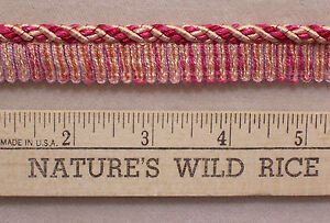 "Braided Cord Trim Bright Pink Peach Salmon & Cream 72"" Long NEW Sewing Crafts"