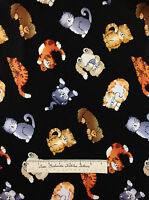 Timeless Treasures Fabric - Cartoon Kitten Cat Toss Black Gray Brown 24