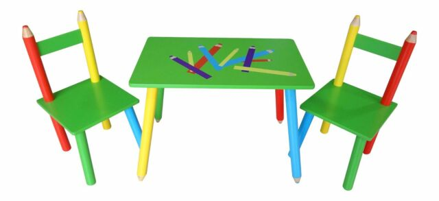 Outstanding Pencil Crayon Themed Childrens Wooden Table And Chair Set Kids Toddlers Childs Home Interior And Landscaping Ponolsignezvosmurscom
