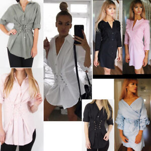 Ladies-Shirt-Dress-Bardot-Wrap-Ruched-Long-Sleeves-Top-Frill-Flounce-Hem-Blouse