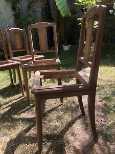 lot 6 chaises anciennes sans assise chêne massif