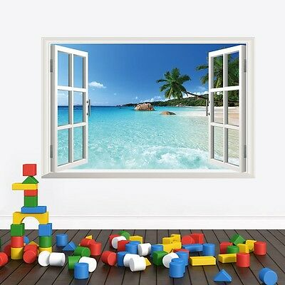 Beach resort 3D Window View Removable Wall Sticker Art PVC Decal Decor Mural