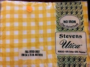 VTG NOS Stevens Utica Full Fitted Bed Sheet Yellow Gingham Check Percale