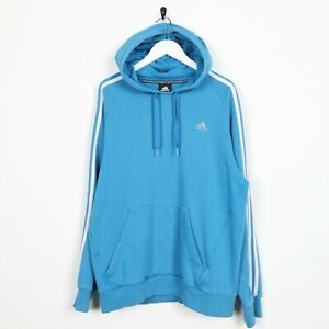Vintage-Adidas-Kleines-Logo-Kapuze-Sweatshirt-Blau-Gross
