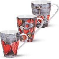 Becher Tassen Kaffeebecher Herzen Holz 3er Set Rot Grau Porzellan 10cm / 300ml