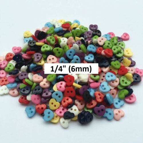 "50 TINY HEART 2-hole Plastic Buttons 1//4/"" 557 10 colors Scrapbook Craft 6mm"