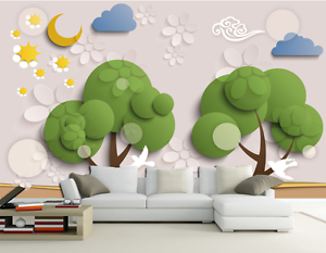 3D Green Tree Cloud Cartoon 317 Wall Paper Wall Print Decal Wall AJ WALLPAPER CA