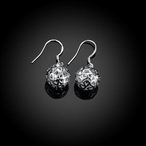 Classic Sterling Silver Filled 11MM Filigree Lovely Heart Hollow Ball Earrings