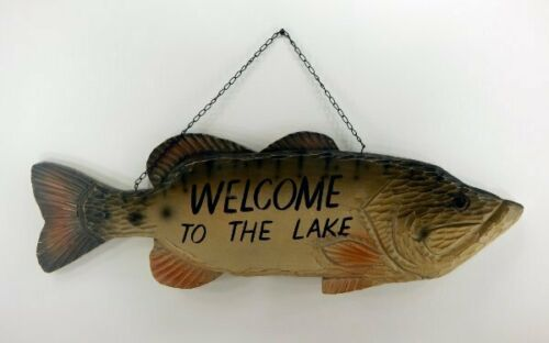 BIG SKY CARVERS FISH WELCOME TO THE LAKE HANGING WALL SIGN NEW FREE SHIPPING