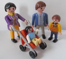 Playmobil Dollshouse family figures: Mum, dad, little boy & baby in buggy NEW