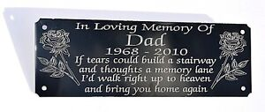 "SOLID BRASS MEMORIAL BENCH PLAQUE GRAVE SIGN PERSONALISED ENGRAVED 6/"" X 2/"" ROSES"