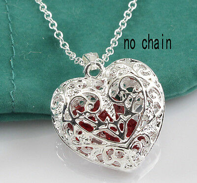 New Silver 3D Hollow out Red crystal love Heart Necklace Pendant