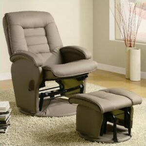 Coaster-Recliners-with-Ottomans-Glider-Chair-with-Ottoman-in-Tan-Vinyl