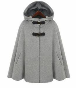 Blend Loose Trench Womens Hooded Overcoat Warm Wildflower Wool Cape Poncho New FqaYPw