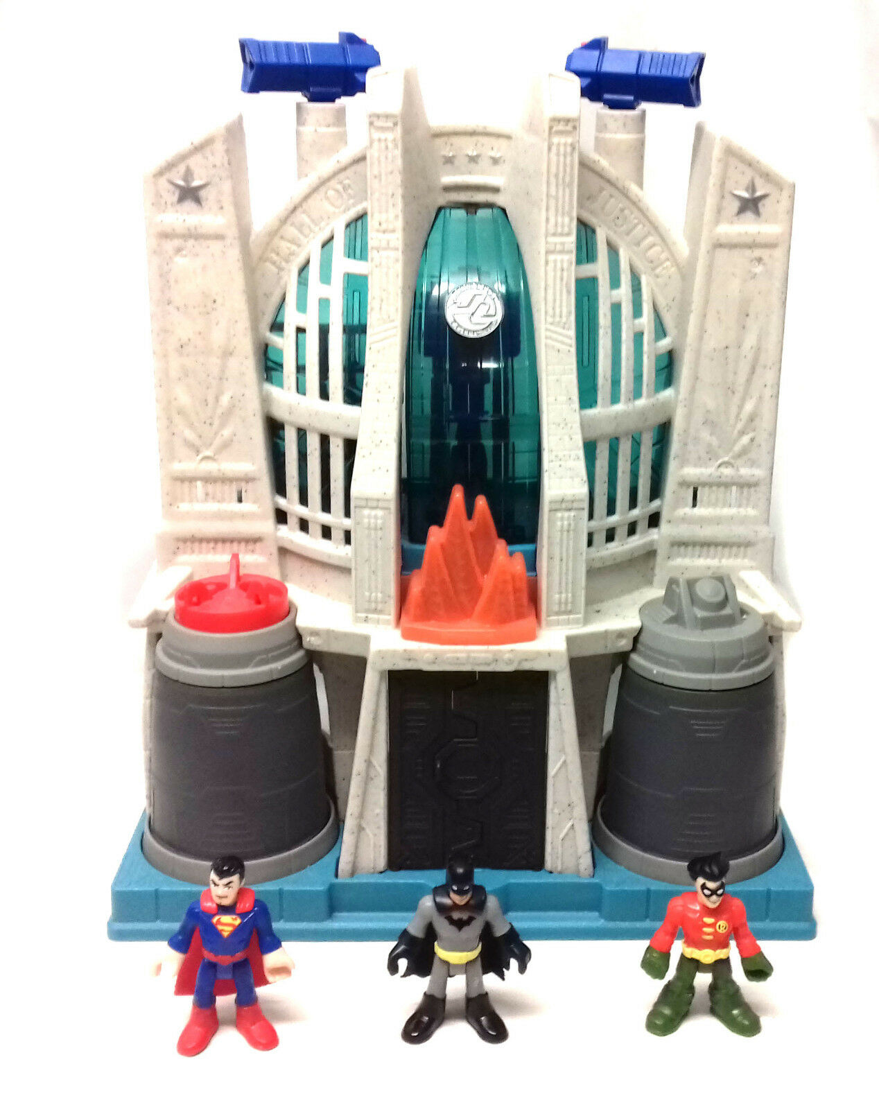 DC Fisher Price toys IMAGINEXT BATMAN HALL OF JUSTICE & 3 figures set