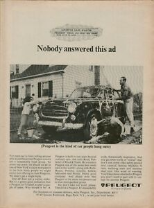 1965 Peugeot Dad Kids Car Wash Driveway Car to Hold Onto Photo Vintage Print Ad