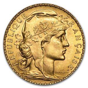 France Gold 20 Francs French Rooster Coin AU (Random) - SKU #152604