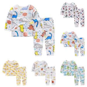 Toddlers-Boys-Girls-Long-Sleeve-Tops-Pants-Pajama-Set-Cartoon-Printed-Sleepwear