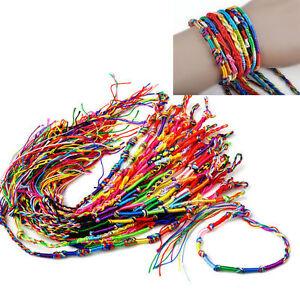 10-pulseras-de-la-amistad-hechas-a-mano-hilo-trenzado-multicolor-Pulseras