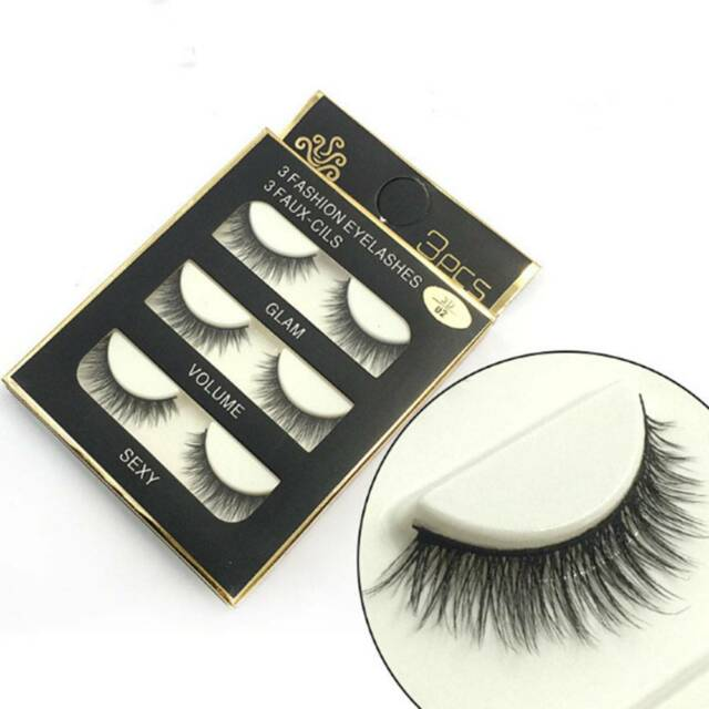 3 Pairs Black 3D Faux Mink Natural Cross Long Thick Eye Lashes False Eyelashes c