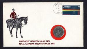 Canada-1973-100th-ANNIVERSRY-MOUNTED-POLICE-25c-Coin-Cover-Regina-Sask