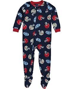 3d6b3ecf0 Carter s Blue Football Sports One-Piece Fleece Sleeper Pajamas ...