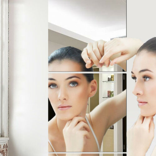 4pcs Mirror Tile Wall Stickers Square Self Adhesive Reflective Home Room Decor