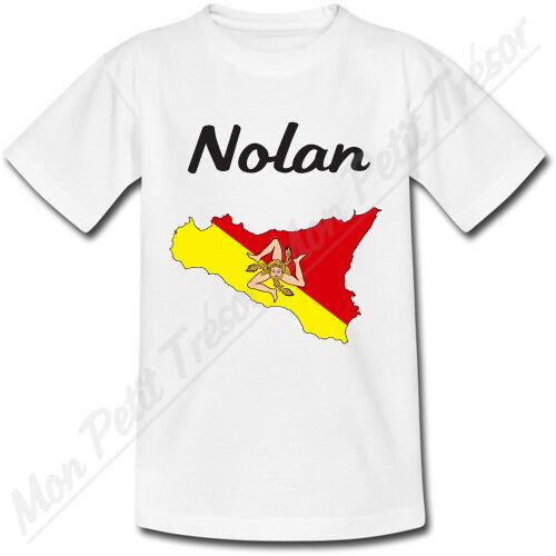T-shirt Enfant Carte Sicile avec Drapeau avec Prénom Personnalisé