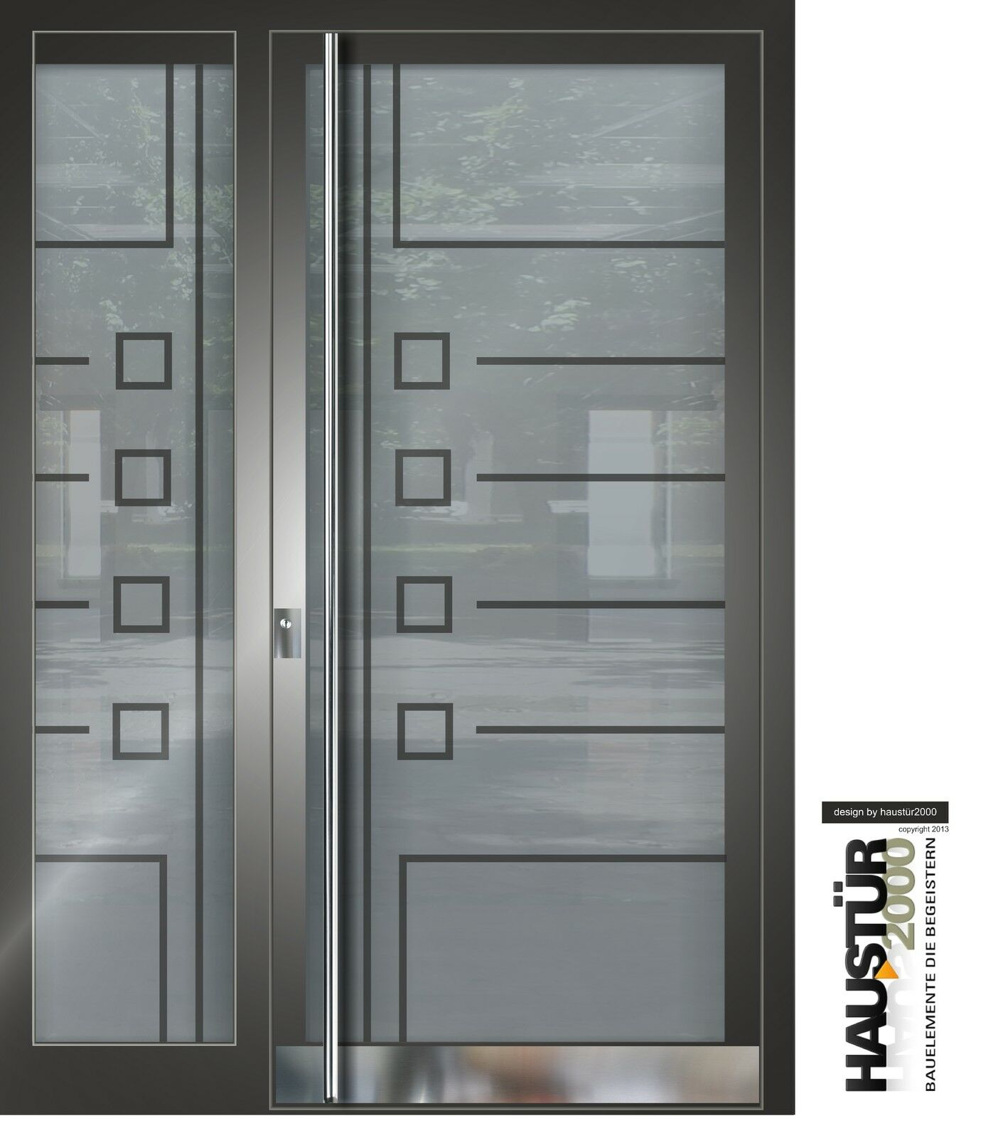 Aluminium Haustür Glas Tür Alu Haustüren nach Maß Mod. HT 5483 SF GLA nach Maß