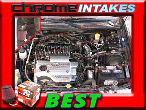 K/&N+BLACK RED NEW AIR INTAKE KIT FOR 00 01 2000 2001 NISSAN MAXIMA 3.0 3.0L V6