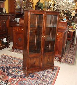 English-Antique-Oak-Two-Glass-Door-Tall-Narrow-Wooden-Bookcase-Display-Cabinet