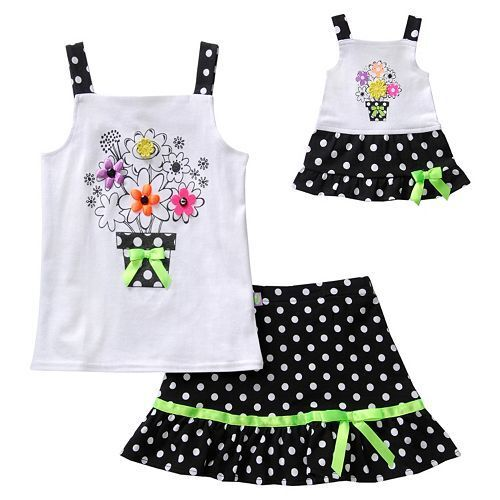 Dollie /& Me Girl 4-14 and Doll Matching Black Tank Skirt Outfit American Girls