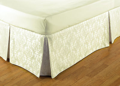Damask Easy Fit Valance in White Single Bed Size 91cm x 191cm x 41cm