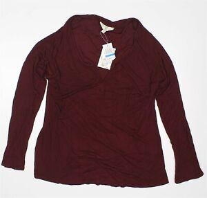 Hippie-Rose-Women-XL-Long-Sleeve-Casual-Solid-Split-neck-Rib-knit-T-Brandy-Wine