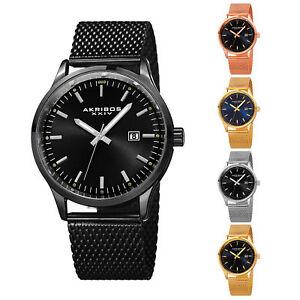 Men-039-s-Akribos-XXIV-AK901-Sunray-Dial-Date-Stainless-Steel-Mesh-Bracelet-Watch