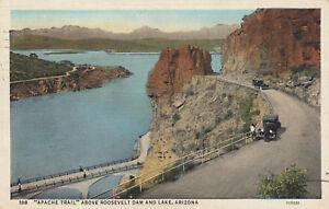 Linen-Postcard-A551-Apache-Trail-Above-Roosevelt-Dam-Lake-Arizona-1937-OLD-CAR